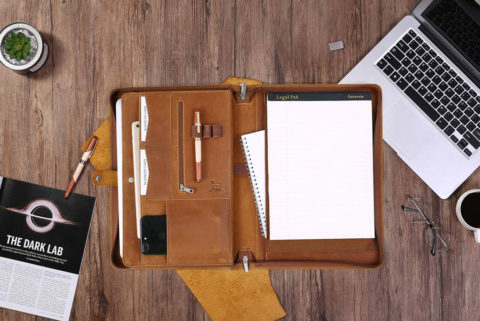 "Gavarnie Genuine Leather Business Portfolio Padfolio Folder with Zipper for Men, Men's Leather Padfolio Folder for 13"" Laptop, Business Portfolio with Letter Size Notepad, Graduation Gift,Brown"