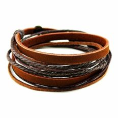 Cherryzz Fashion Handmade Soft Leather Multilayer Wrap Leather Bracelet Snap Cuffs