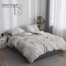 Simple&Opulence 100% Linen Duvet Cover Set with Washed-French Flax-3 Pieces Solid Color Basic Style Bedding Set-Breathable Soft Comforter Cover with 2 Pillowshams(Queen,Linen)