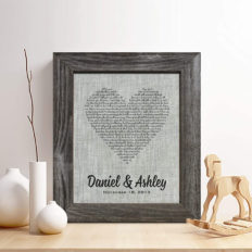 Personalized 4th or 12th Linen Anniversary Gift for Him or Her, First Dance Song Print on Linen Fabric