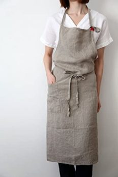 """cozymomdeco French Linen Cross Front Apron Japanese Style with Pocket Gift Chef Works Handmade 39.3"""" W x 39.3""""L Beige"""