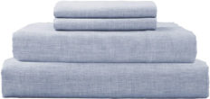 DAPU Pure Stone Washed Linen Sheets Set 100% French Natural Linen European Flax (Queen, Summer Sky, Flat, Fitted and 2 Pillowcases)