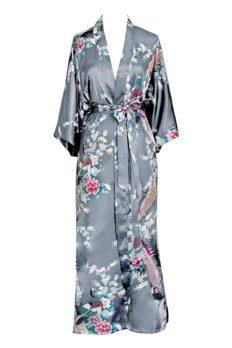 KIM+ONO Satin Kimono Robe Long - Peacock & Blossoms - Stone (Grey)