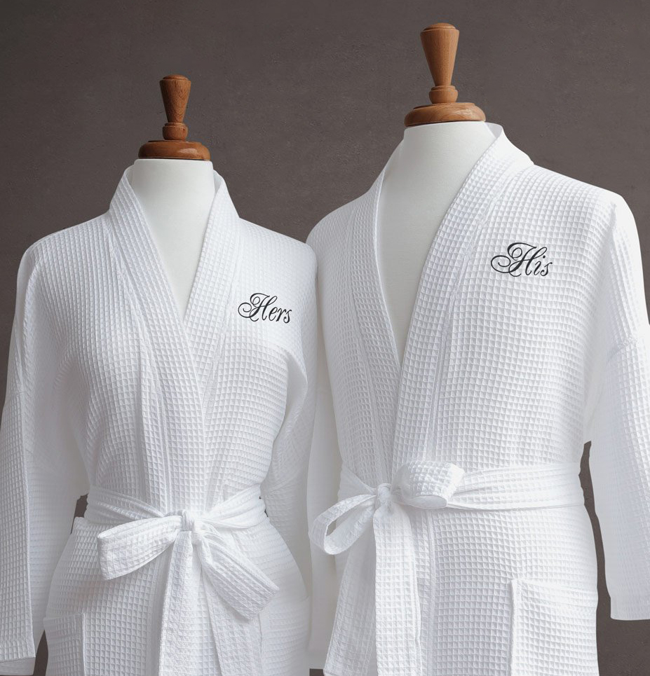 """Luxor Linens """"His and Hers Waffle Weave Robe (2 PCS) for Wedding, Anniversary and Birthdays -His/Hers & Signature Gift Packaging"""