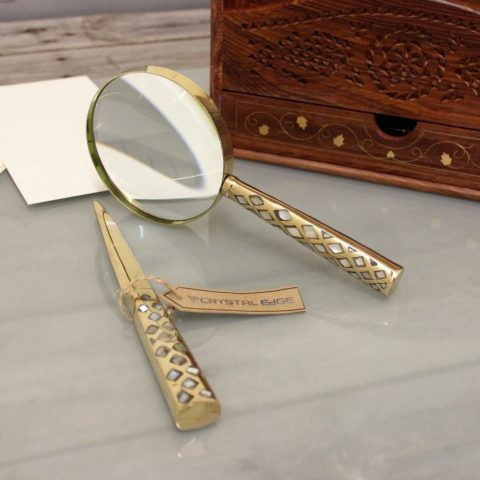 Zuari Antique Vintage Magnifying Glass and Letter Opener Mother of Pearl Brass