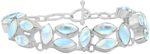 Natural Moonstone Bracelet for Women Mom Wife 925 Silver Overlay Handmade Vintage Bohemian Style Jewelry