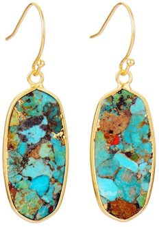 Turquoise Earrings for Women Fashion Jewelry (Gold)