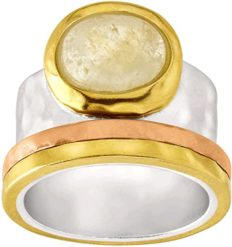 Silpada 'Metallic Mix' Natural Citrine Ring in Sterling Silver, Brass, & Copper