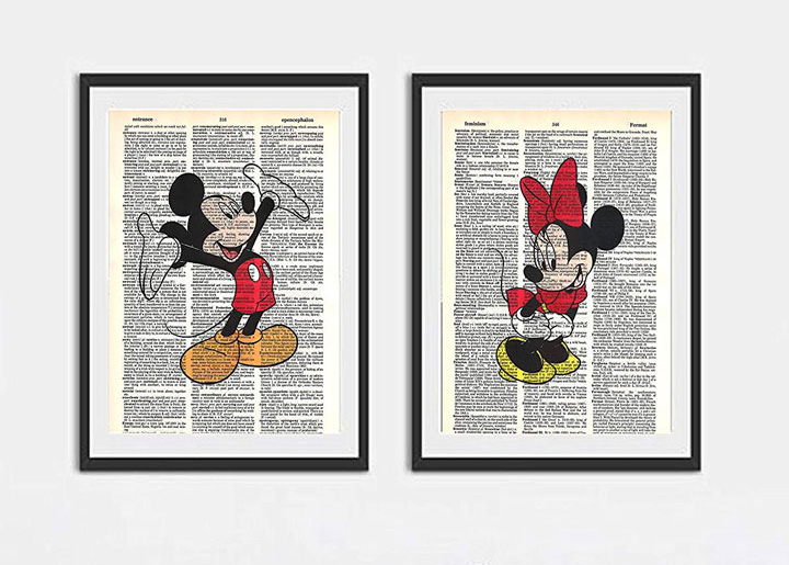 Walt Disney Mickey Mouse and Minnie Mouse photo's set of (2) dictionary art prints 8x10