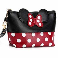 Energy power shop Cartoon Leather Travel Makeup Handbag, Cute Portable Cosmetic bag Toiletry Pouch for Women Teen Girls Kids (Black)