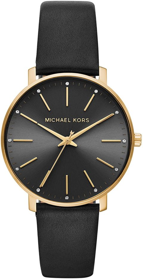 Michael Kors Women's Pyper Stainless Steel Quartz Watch with Leather Strap, Gold/Black, 18