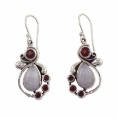 NOVICA Rainbow Moonstone and Garnet .925 Sterling Silver Dangle Earrings 'Exquisite'
