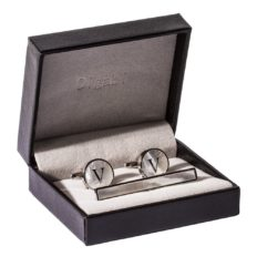 Digabi Platinum Plated 18K Rectangular Mother of Pearl Tie Clip and Initial Letter Cufflinks Set with Nice Box (Silver V)