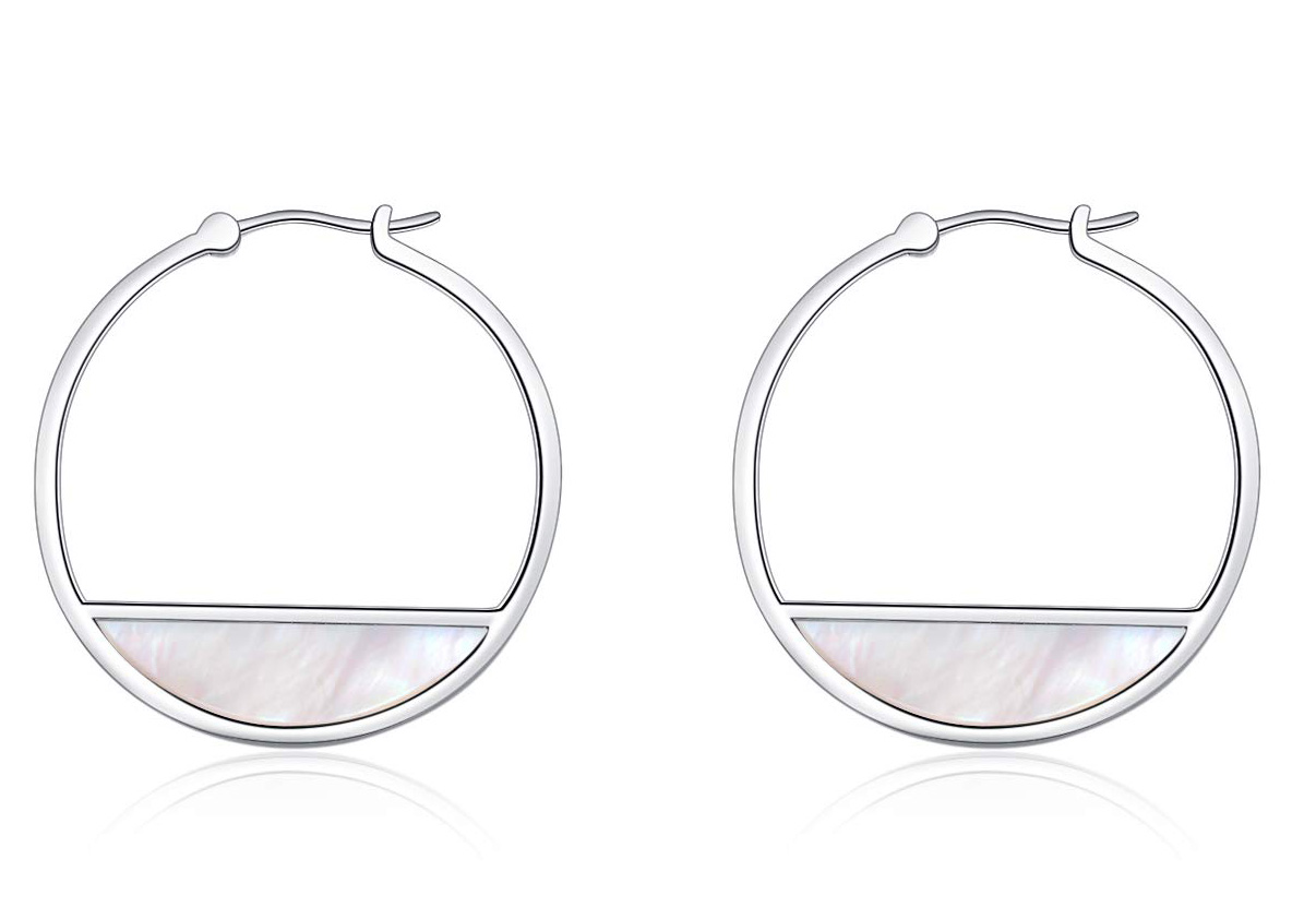 LUHE Small Sterling Silver Hoop Earrings for Women, Hypoallergenic Mother of Pearl Shell Dangle Earrins for Sensitive Ears