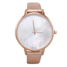 Rosemarie Collections Women's Exquisite Fashion Watch with Mother of Pearl Face and Leather Band (Rose Gold)