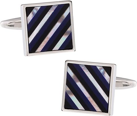 Cuff-Daddy Mother of Pearl Black Onyx Lapis Striped Cufflinks with Presentation Gift Box Unique Men Stone Cuff Links Special Occasions Business Wedding Storage Travel Box shirt studs Accessories