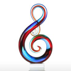 """Tooarts Multicolorrts Music Note Glass Sculpture Home Decor Ornament Gift Craft Decoration 14"""""""