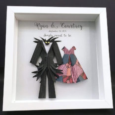 Nightmare Before Christmas Jack and Sally Wedding Gift, First Anniversary Gift Paper Origami Bride & Groom Shadowbox Frame Wall Art Gift