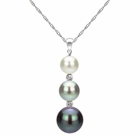 """14k White Gold Graduated 5-9.5mm Multi-colors Freshwater Cultured Pearl Pendant Necklace, 18\\\\\\\"""" Valentines Gifts"""