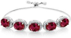 Gem Stone King 925 Sterling Silver Red Created Ruby Adjustable Women Bracelet (11.05 Ct Oval 9X7MM)