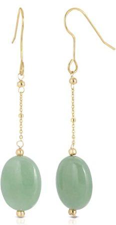 Genunie Jade Oval Dangle Earrings in Gold Plated Sterling Silver