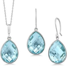 Gem Stone King Sterling Silver Blue Topaz Pendant and Earrings Set 22.50 cttw Pear Shape 16X12MM Gemstone Birthstone with 18inches silver Chain