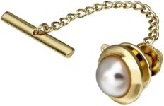Mens Pearl Tie Tack with Chain for Necktie Best Wedding Business Daily Accessories - Faceted Pearl in Rich