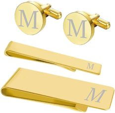 BodyJ4You 4PC Cufflinks Tie Bar Money Clip Button Shirt Personalized Initials Letter M Gift Set