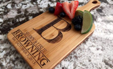 Personalized Mini Wooden Bamboo Cutting Board (5 x 11 with Handle, Browning) | Custom Wedding Gift for the Couples, 50th Wedding Anniversary Gift | Birthday, Mothers Day Gift for Mom, Grandma, Wife