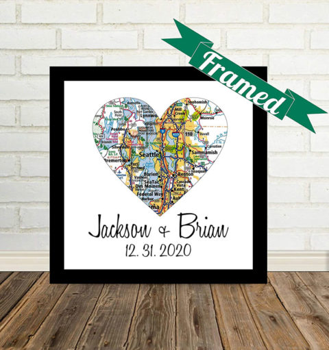 Unique Gay Wedding Gift for Gay Couple Framed Map Art Heart Map Gay Marriage Gift LGBT Wedding Gift