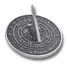 The Metal Foundry 10th Tin Wedding Anniversary 2018 Sundial Gift Idea is A Great Present for Him, for Her Or for A Couple to Celebrate 10 Years of Marriage