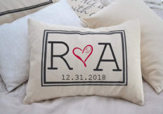 Personalized Pillow Two hearts 2 Hearts are one, with Initial Monogram and Date Second Anniversary Cotton gift 2nd anniversary Pillow