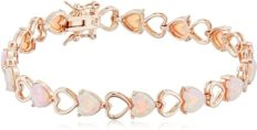 """14K Rose Gold Plated .925 Sterling Silver Created Pink Opal Heart Tennis Prong Setting Bracelet, 7-1/4"""""""