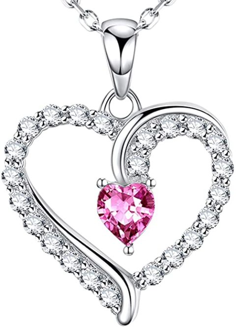 """Pink Tourmaline Necklace for Women Teen Girls Birthday Gifts Love Heart Jewelry for Mom Wife Daughter I Love You Necklace for Her Anniversary Sterling Silver 20"""" Chain You are the Only One In My Heart"""
