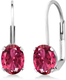 Gem Stone King 925 Sterling Silver Pink Tourmaline Leverback Earrings For Women (1.70 Cttw, Oval 7X5MM)