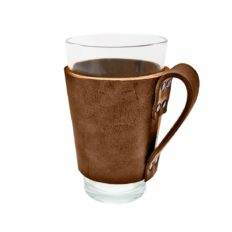 Hide & Drink, Sturdy Durable Leather Pint Sleeve with Handle, Bar Pub Style, Natural Insulation Temperature Control, Brass Metal Rivets, Handmade Includes 101 Year Warranty :: Bourbon Brown
