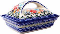 Polish Pottery Ceramika Boleslawiec, 0352/238, Butter Dish Deep, 2 Cubes, Royal Blue Patterns with Red Cornflower and Blue Butterflies Motif