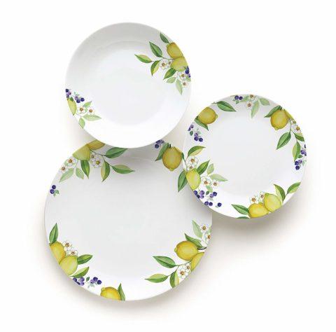 Excelsa Lemon Table Service 18Pieces, Porcelain, White/Lemons