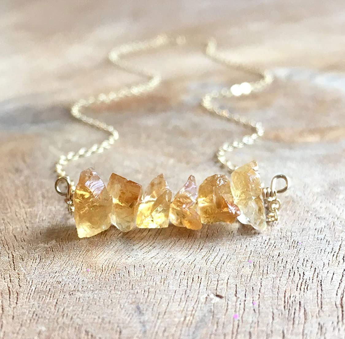 Raw Citrine Crystal Necklace 18 Inch Gold Filled November Birthstone Jewelry For Women