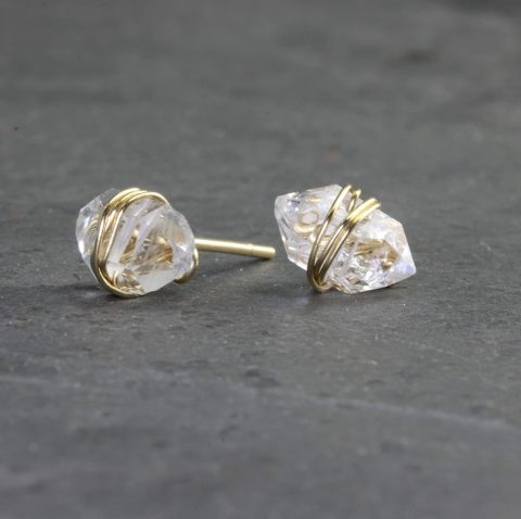 Herkimer Diamond Stud Earrings, Natural Herkimer Crystal Earrings Handmade with Sterling Silver, Gold Fill, or Rose Gold Fill (gold-filled)
