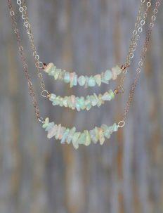 Genuine Rough RAW White Opal Gemstone Bar Necklace- Sterling Silver- October Birthstone