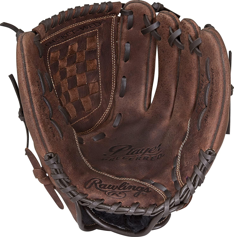 Rawlings Player Preferred Baseball Glove, Regular, Baseball/Softball Pattern, Basket-Web, 12-1/2 Inch
