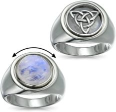 Personalized Reversible Viking Celtic Trinity Knot Triquetra Moonstone Ring For Men Sterling Silver Custom Engraved