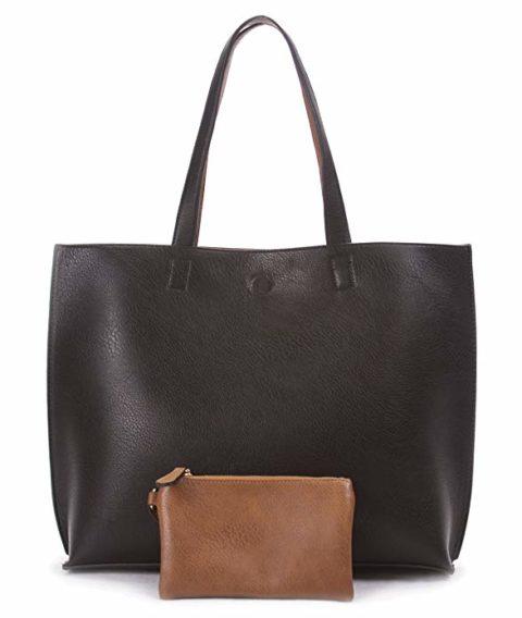 Overbrooke Reversible Tote Bag - Vegan Leather Womens Shoulder Tote with Wristlet, Black/Light Brown, Large