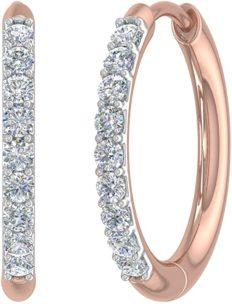 1/4 Carat (ctw) Round White Diamond Ladies Hoop Earrings in 10K Rose Gold