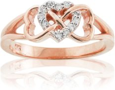 Solid 10k Rose Gold Diamond Triple Heart Infinity Ring