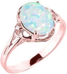 Elegant 14k Rose Gold Oval October Birthstone Solitaire Ring