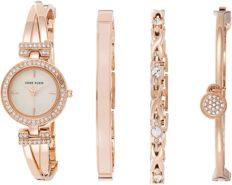 Anne Klein Women's Premium Crystal Accented Bangle Watch and Bracelet Set, AK/2238RGST