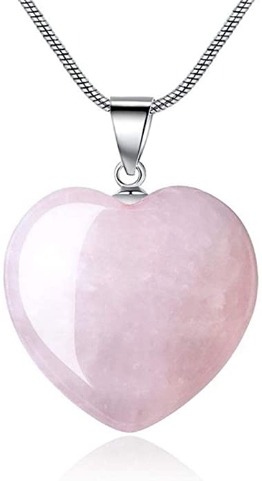 Sterling Silver Rose Quartz Gemstone Large Heart Pendant Necklace 18 inch Healing Crystals Chakra Stones Women Girls Gifts NK18-17