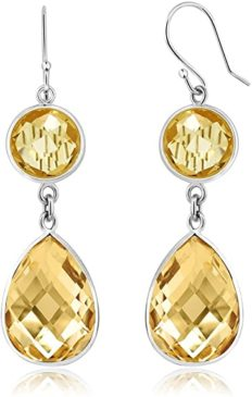 Gem Stone King 925 Sterling Silver Natural Citrine Earring For Women (13.00 Cttw, Gemstone Birthstone, 8MM Round and Pear Shape 10X15MM)